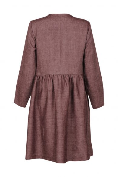 Linen dress AGOTA, cherry (back)