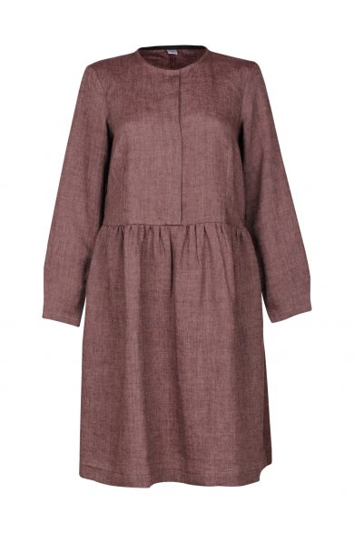 Linen dress AGOTA, cherry (front)