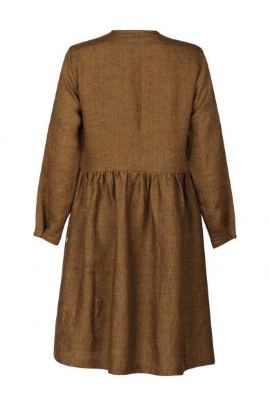 Linen dress AGOTA, brown (back)
